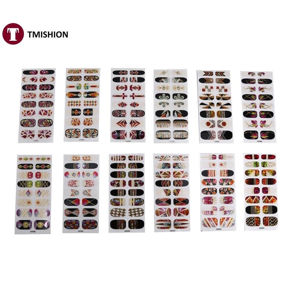 16 Unids/Sheet 3D Espejo Diseñado Nail Art Pegatinas de Vidrio Roto Nail Art Tat