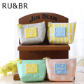 RU&BR Korean Style Coin Bag Mini Simple Creative Student Purse Canvas Material Zipper Geometric Patterns Wallet Key Cases