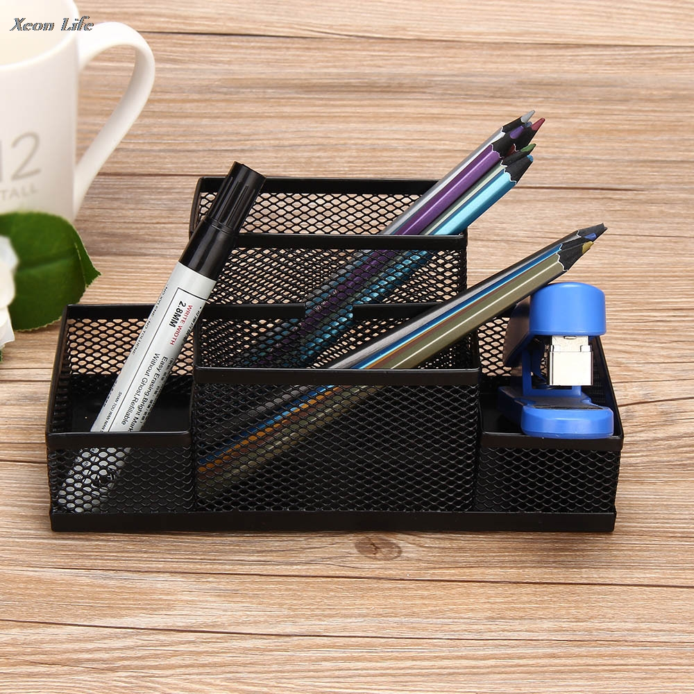 2017 New Arrival Metal Mesh Home Office Pen Pencils Holder Desk Stationery Storage Organizer Box Candy Color