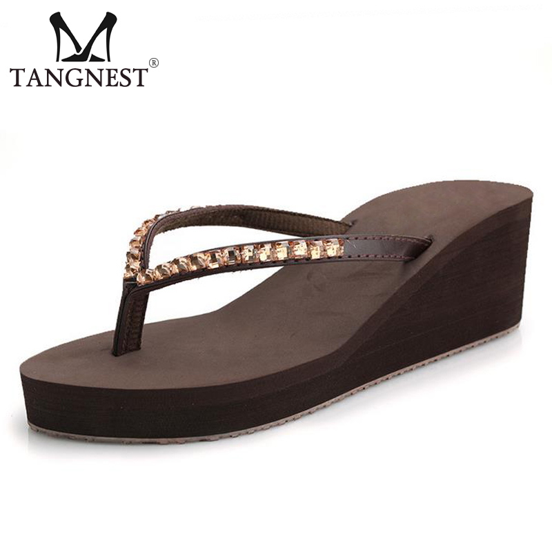 Tangnest 2017 Beach Crystal Woman Sandals Summer Bling Woman Flip Flops Woman Slippers XWZ3761 lanshulan bling glitters slippers 2017 summer flip flops platform shoes woman creepers slip on flats casual wedges gold