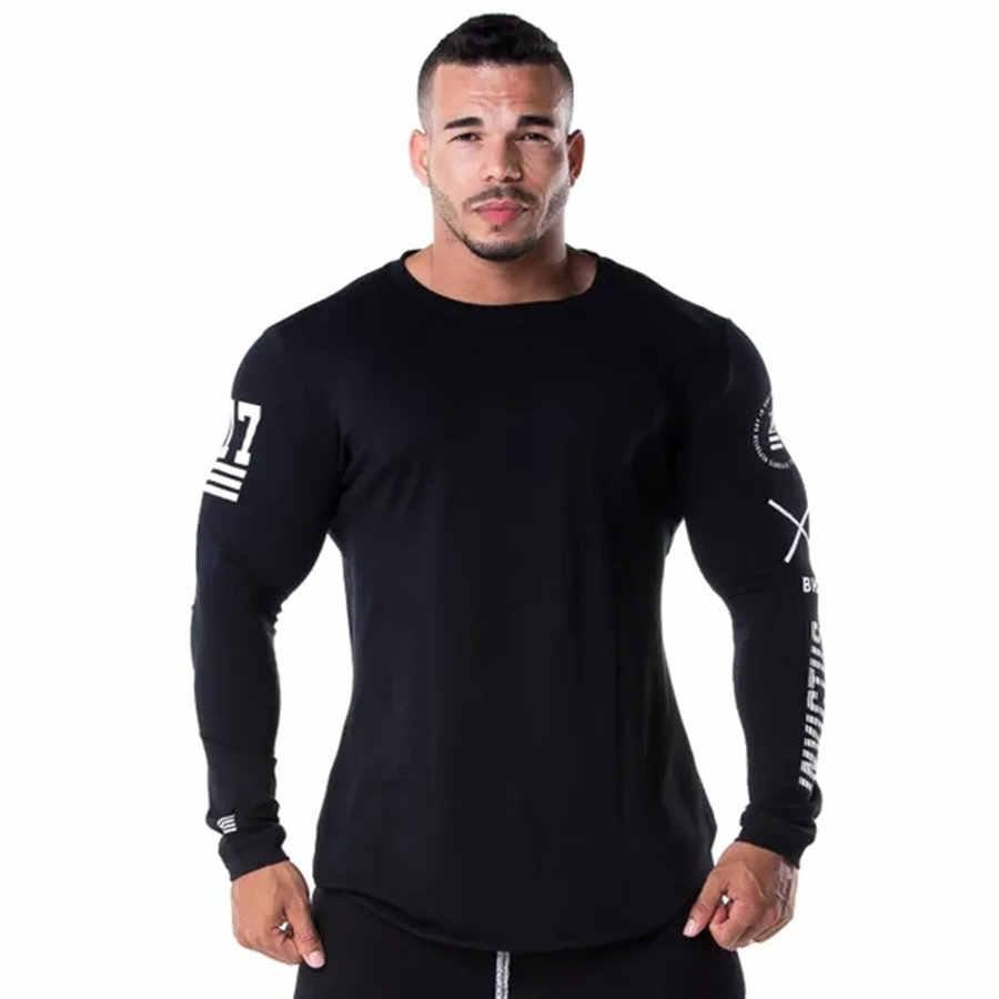 Мужская облегающая футболка с длинным рукавом Весна 2019 Повседневная модная футболка с принтом Мужская спортивная одежда фитнес Черная футболка Топы Crossfit одежда