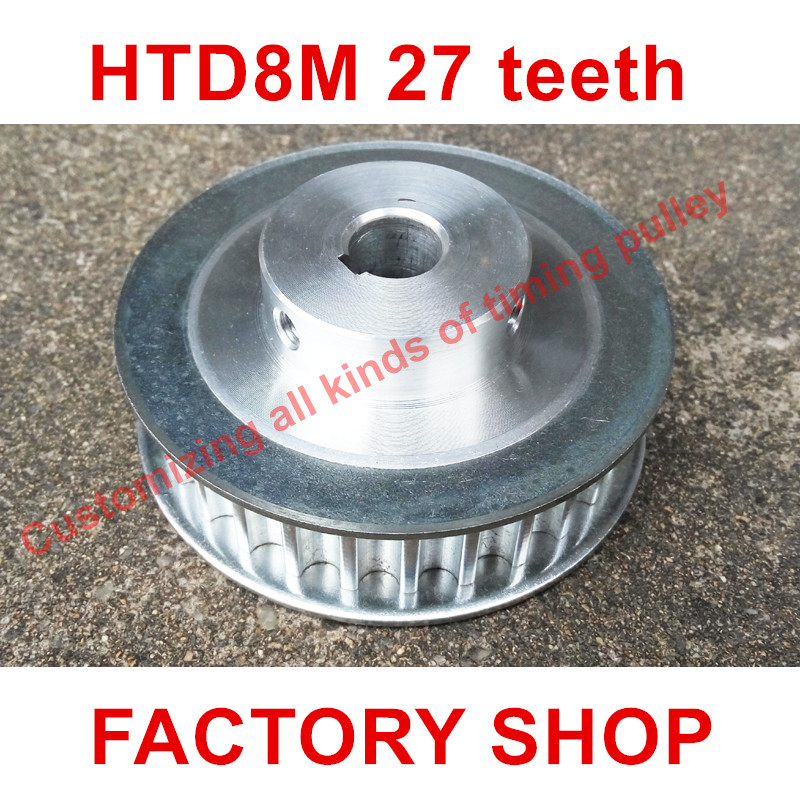 2pcs HTD 8M Timing Pulley 27 teeth Bore 12mm fit belt width 15mm for CNC machines laser machine engraving machine High quality 10meters htd 3m open ended timing belt width 15mm 10pcs 24 teeth bore 12mm 3m timing pulley for laser engraving cnc machines