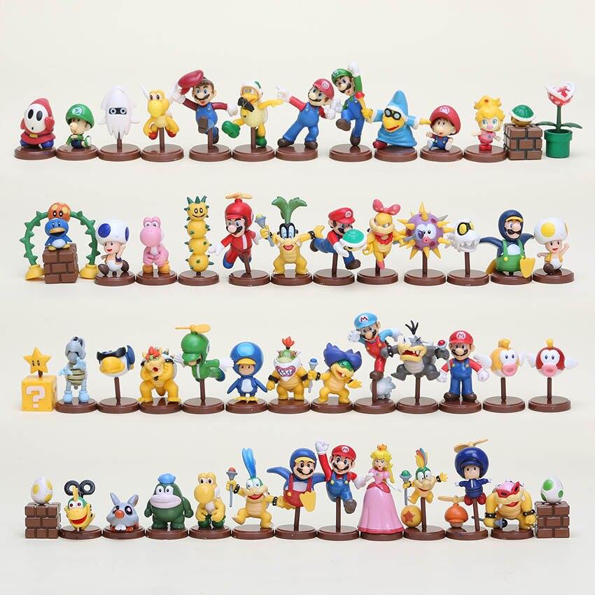 13pcsset Super Mario Bros figure Mario luigi bowaer pvc action figure set 4styles