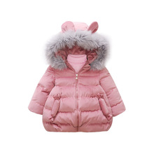 2018 New Korean fashion children cute candy long velvet cotton padded winther jacket girls snowsuit