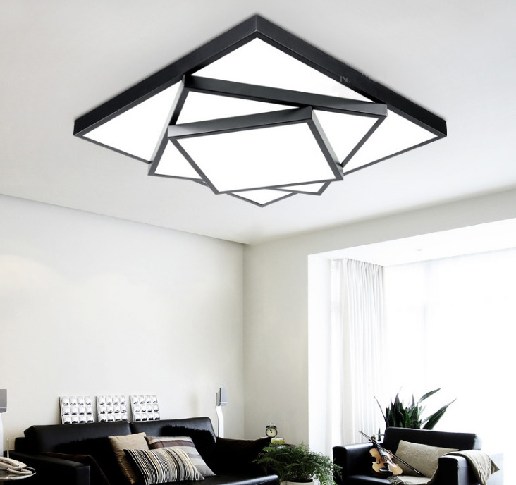 Brief acrylic square led ceiling light modern fashion wrought iron bedroom black frame ceiling lights 85-265V 63x63CM,80x80CM 150pcs square led panel light 600x600 mm smd3014 40w 60x60 ceiling lights aluminum focus led