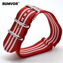 NEW Arrivals 22 mm Strong Military Army Multi Color Red White nato fabric Nylon Watch watchband Woven Strap Bands Buckle 22mm