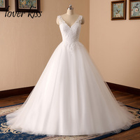 Lover Kiss vestido de novia 2018 Romantic Inspired V Neck Lace Festival Wedding Dresses Gowns Low Back Bridal Dress abiti sposa