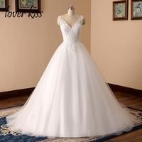 Lover Kiss vestido de novia 2018 Romantic Inspired V Neck Lace Festival Wedding Dresses Gowns Low Back Bridal Dress abiti sposa