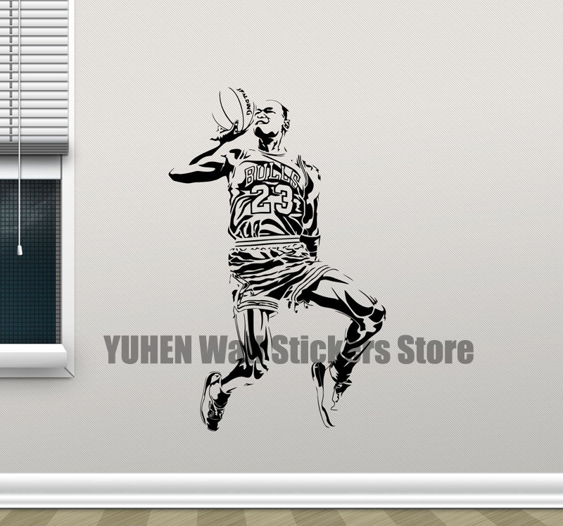 Michael Jordan Basketball 23 NBA Star Artist Wall Decoration Kids Children's Bedroom Label Wall Art Removal Decal Vinyl Sticker