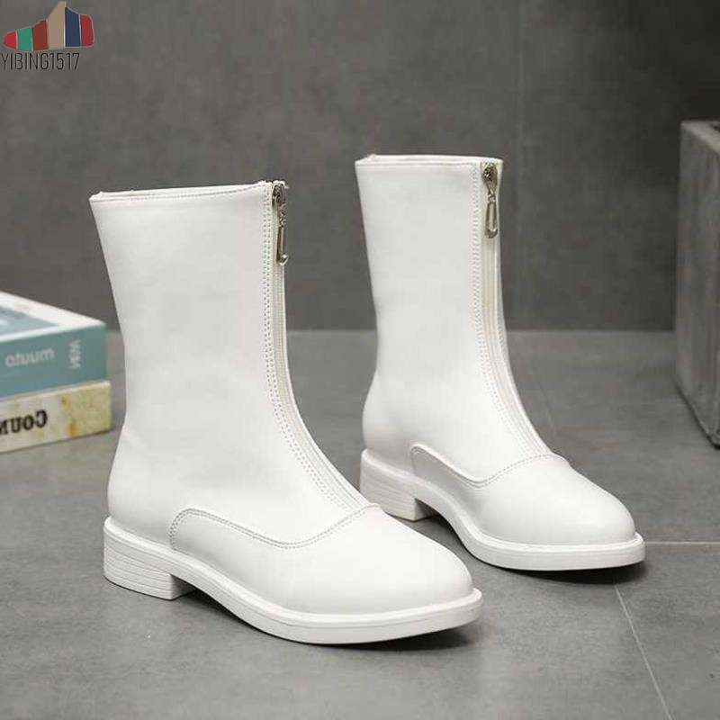 Новая осень зима середины икры сапоги женские на каблуках теплые плюшевые кожаные сапоги высокого  Лучший!
