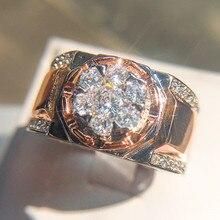 Brilliant Male Big Zircon Stone Ring Fashion 925 Silver/Rose