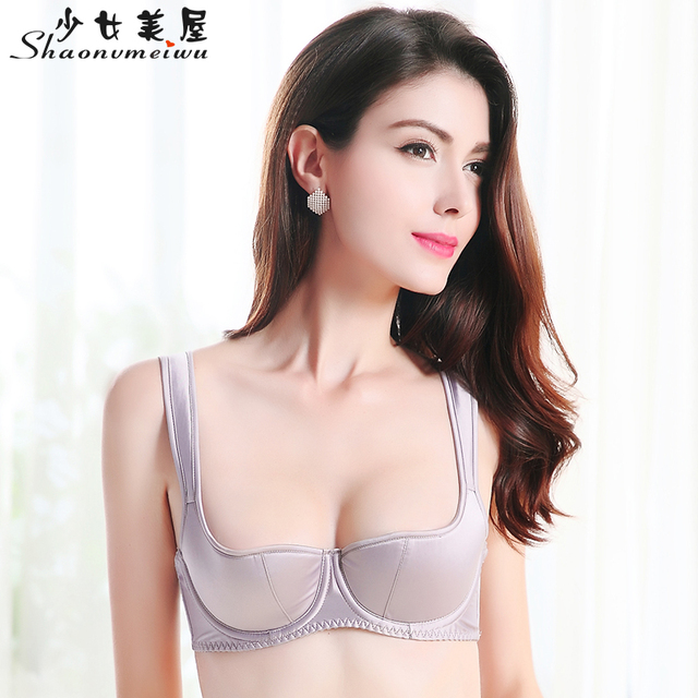 Qiu dong together new sexy non-trace smooth lingerie on thin clients a half-cup bra bra gray
