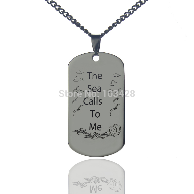 AILIN Hand Stamped Name Dog Tag Necklace 'The Sea Calls To Me' Ocean Necklace Personalized Initial Pendant Titanium Steel Chain