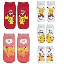 Новое поступление, милые женские носки с 3D принтом аниме, покемон Пикачу, короткие носки, кавайные носки с котом