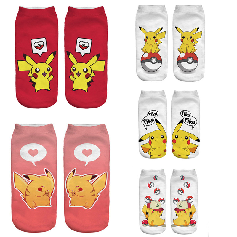 New Arrival Cute Cartoon Anime 3D Printed Women   Socks   Pokemon Pikachu Ankle   Socks   Kawaii Cat   Socks