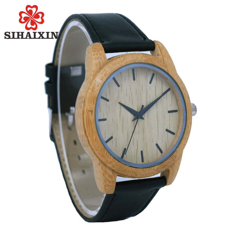 SIHAIXIN Soft Black Leather Watch Man Natural Bamboo Wood Watches Quartz Simple Sports Clock Male Creative Birthday Gift For Men