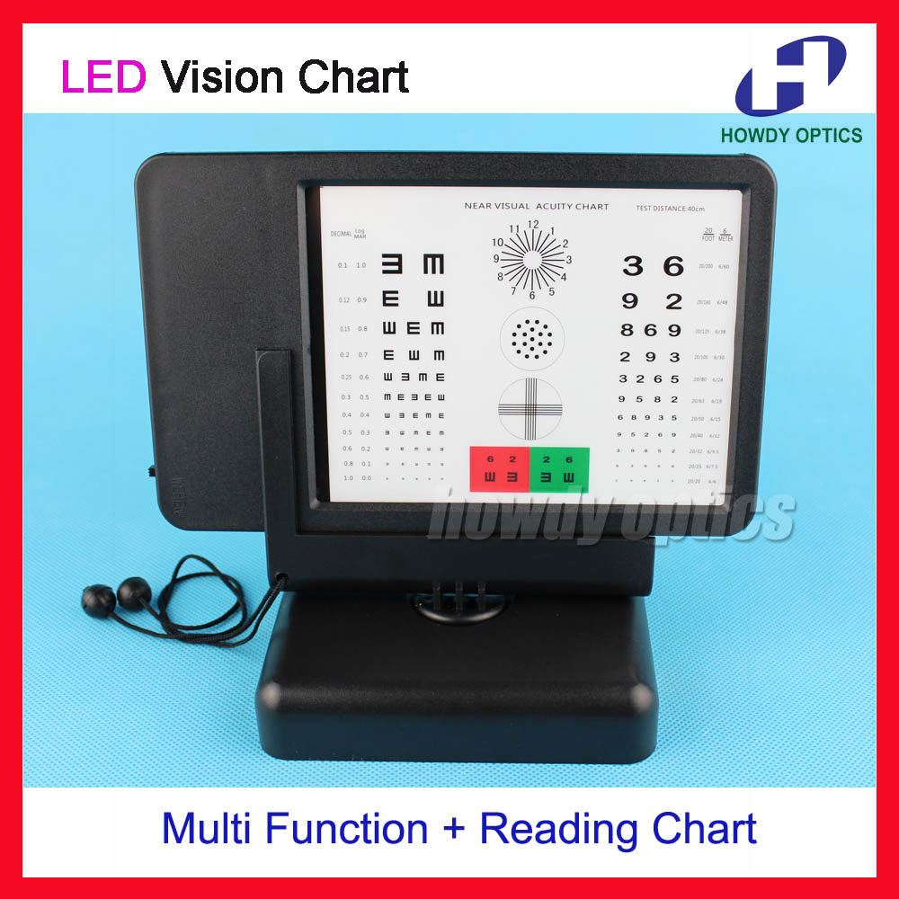 Letter Tumbling E Number Red Green And Reading Chart Led Backlight