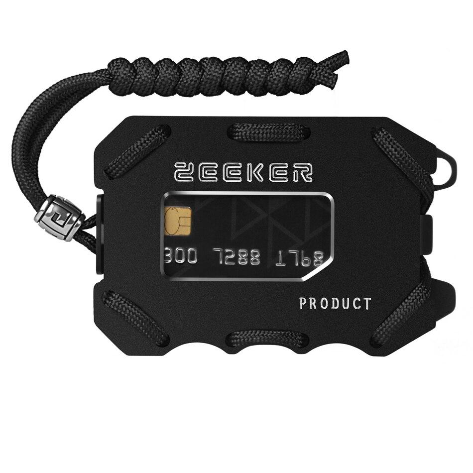 Carteira de metal frente carteira de bolso fino rfid bloqueio de cartão carteira homem com clipe de dinheiro paracord para cartões e dinheiro por zeeker