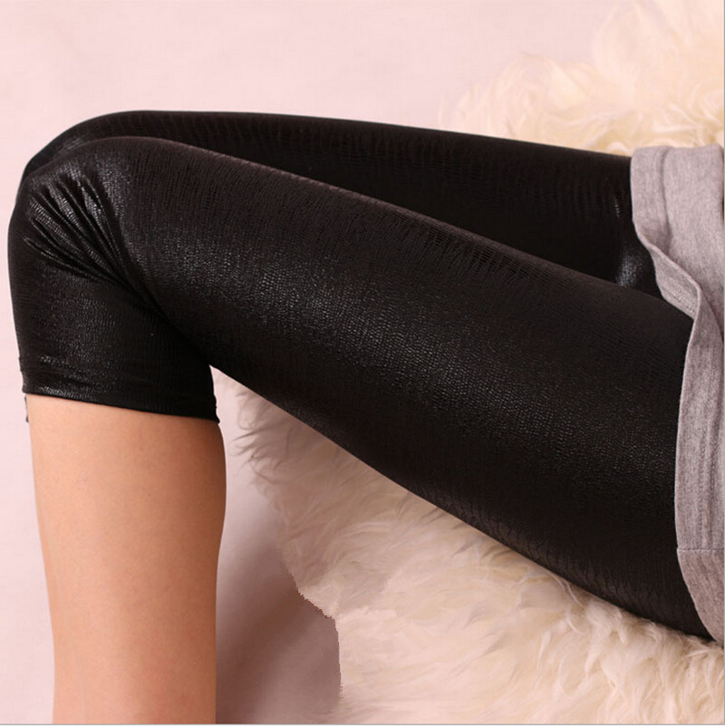 2017 Mode Damen Nahtlose Feste Stretch Dünne Geerntete Kalb Frauen Legins Halbe Hosen Candy Farbe Neon Leder Schlange Leggings