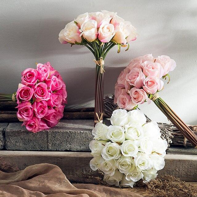 Ina Roses Simulation Flower Silk Arrangement Fl Living Room Dining Table Bedroom Study Ornaments Home Decorati