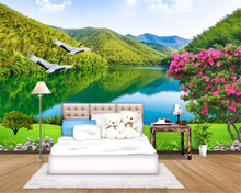 beibehang Customized HD Nature landscape wallpaper nice rivers and mountains Egrets background wall living room mural paper