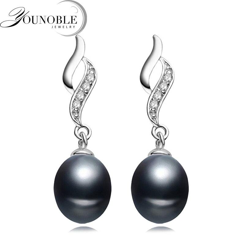 Echt süßwasser natürliche perle ohrringe frauen, klassische schwarze braut silber schwarz perle ohrring