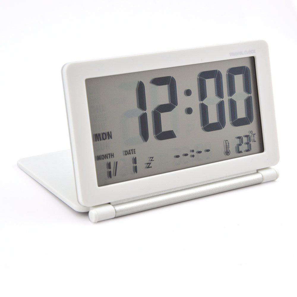 Silent LCD Digital Large Screen Travel Desk Electronic Alarm Clock Date/Time/Calendar/Temperature Display Snooze Folding-30