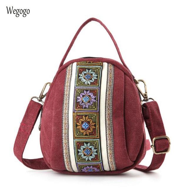2019 ใหม่ผู้หญิง Messenger กระเป๋าเย็บปักถักร้อยแห่งชาติผ้าใบขนาดเล็ก Totes Zipper โทรศัพท์มือถือกระเป๋าสะพายกระเป๋า