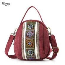 2019 nuevas bolsas de mensajero para mujeres bordado nacional Mini bolsas de lona cremallera teléfono móvil monedero bolso de hombro