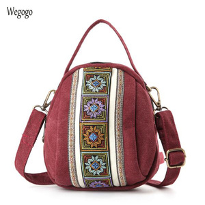 Image 1 - 2020 New Women Messenger Bags National Embroidery Mini Canvas Totes Zipper Mobile Phone Coin Purse Shoulder Bag