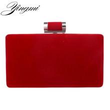 YINGMI Yeni varış kadın moda akşam çanta debriyaj akşam çanta ile siyah kırmızı çanta zincir kadın haberci omuz çantaları