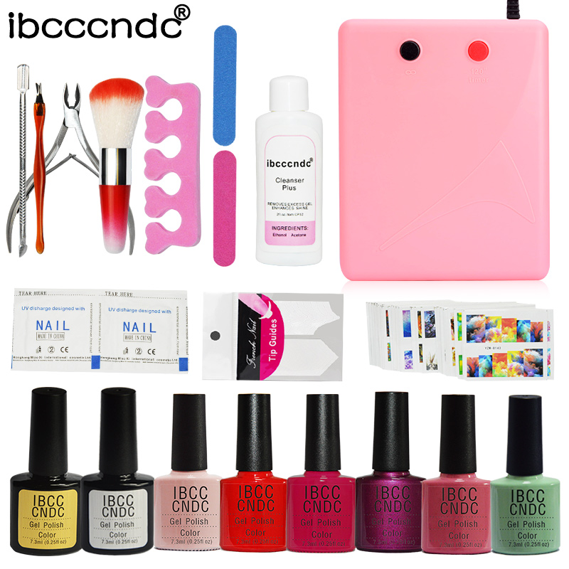 Nail Art Manicure Tools 36W UV Lamp + 6 Colors Soak off Gel Varnish Nail Base Top Coat Polish with Remover Practice Set File Kit elecool 12 in 1 stainless steel pedicure manicure set nail clipper scissors nail care nipper cutter cuticle grooming kit