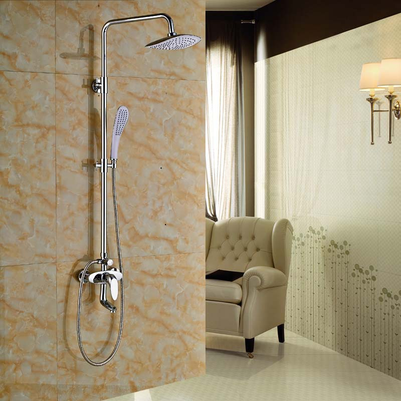 Chrome Finish 8'' Wall Mounted Shower Head Faucet Single Handle Hole Valve Mixer Tap chrome finish dual handles thermostatic valve mixer tap wall mounted shower tap