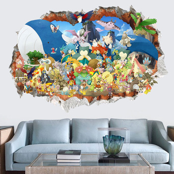 Creative Removable 3d Pokemon Wall Stickers For Kids Rooms Self Adhesive  Baby Decals Living Room 3d Pvc Wall Pictures