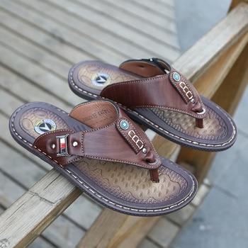 2019 Summer Beach Men Flip Flops Pu Leather Slippers Male Flats Sandals outdoor Rubber Thong Beach Shoes Men Leather Brand New 1