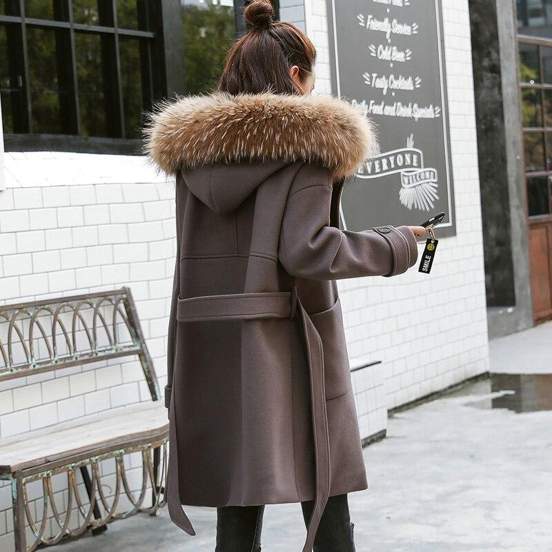 Renard Épaissir Wooolen Manteau À Mode Veste Patchwork Outwear Color Chaud Picture Capuchon De Femmes D'hiver Laine 2017 Col Qw752 Nouvelle Femelle Fourrure q0gwOwU
