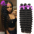 10A Brazilian Deep Wave 4 Bundles Unprocessed Remy Brazilian Hair Weave bundles cheap Brazilian Deep Curly human hair weaves