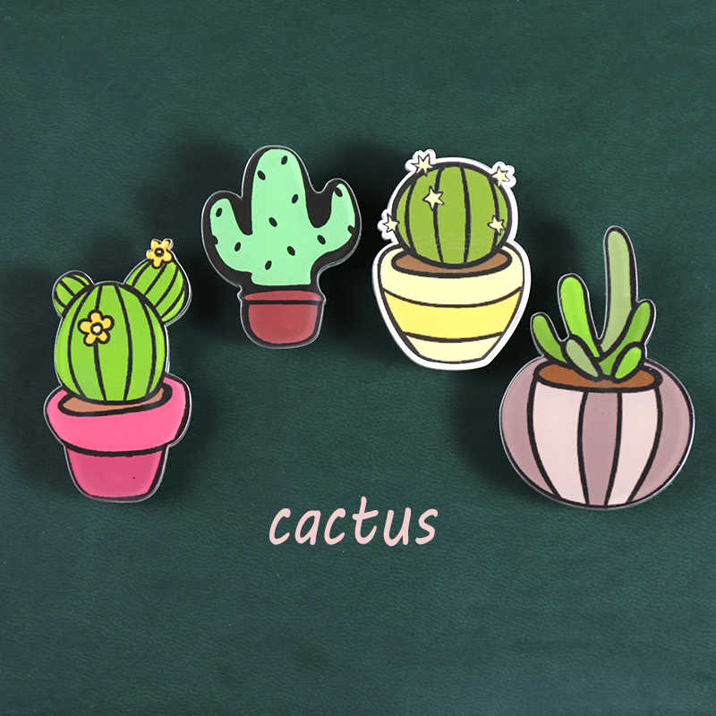 Nengdou Y16 cactus icon cute badges for bag backpack icon acrylic badges plant icon kawaii harajuku brooches chapas accessories