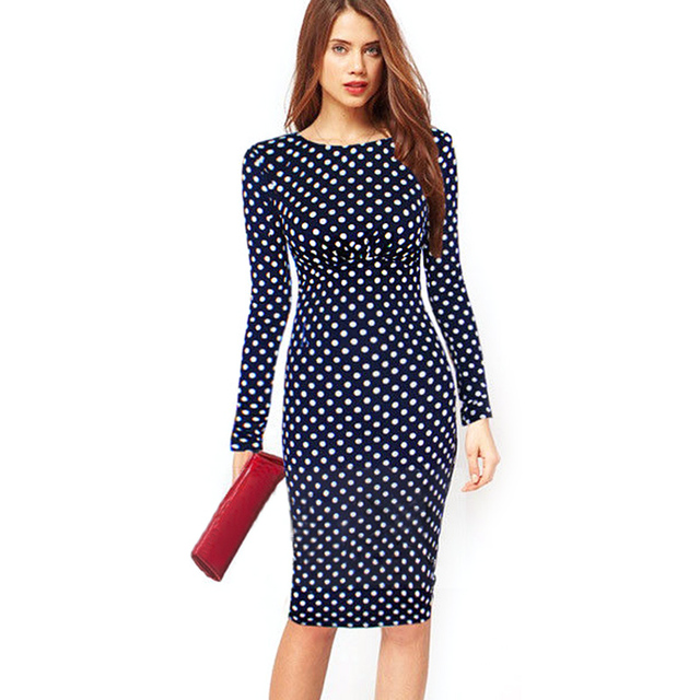 Oxiuly Women Vintage Polka Dot Print Long Sleeve Knee-Length Casual Stretchy Bodycon Pencil Dresses