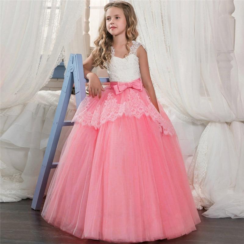 Новинка года, Открытое платье с цветочным рисунком на спине для девочек высококачественное свадебное платье с цветочным узором для мальчиков элегантное праздничное платье с кружевом и цветочным узором для девочек - Цвет: pink