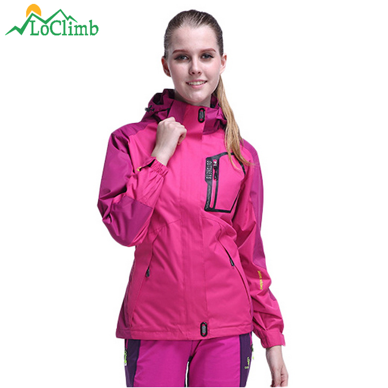 LoClimb Camping Hiking Jackets Women Autumn Waterproof Windproof Outdoor Sport Coat Climbing Trekking Womens Windbreaker,AW010