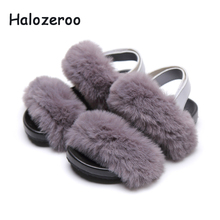 Summer New 2019 Kids Angora Sandals Baby Girls Fur Princess Shoes Children Gray Sandals Toddler Pu Leather Sandals Fashion Shoes