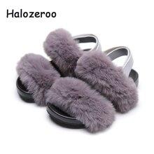купить Summer New 2019 Kids Angora Sandals Baby Girls Fur Princess Shoes Children Gray Sandals Toddler Pu Leather Sandals Fashion Shoes недорого