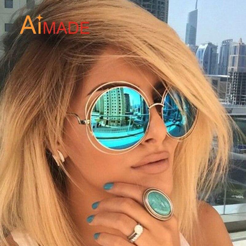 100% QualitäT Aimade Übergroße Runde Sonnenbrille Mode Frauen Größe Große Retro Spiegel Sonnenbrille Dame Weibliche Vintage Marke Designer Uv400