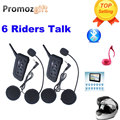2016 ¡ Nuevo! 2 unids V6 Intercomunicador Del Casco 6 Jinetes 1200 M Bluetooth de La Motocicleta Intercom Headset walkie talkie Casco BT Interfono