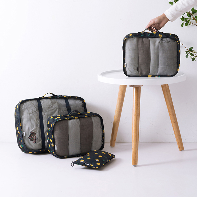 6 Pcs/Set Oxford Luggage Travel Bag Unisex Portable Clothing Baggage Organizer Tote Zipper Breathable Packaging Cube Accessories