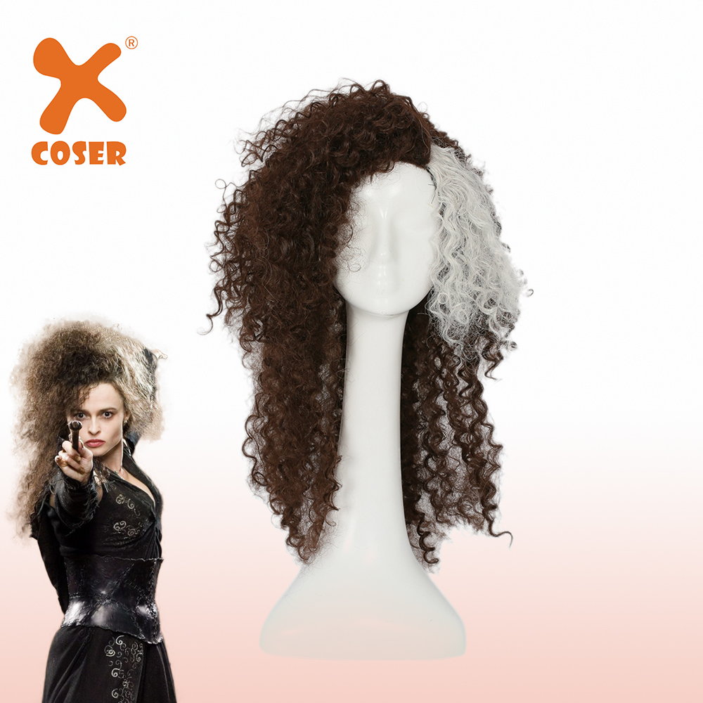 XCOSER Bellatrix Lestrange Curly Brown Wig Cosplay Accessories Halloween Cosplay Costume Prop Headwear For Women High Quality