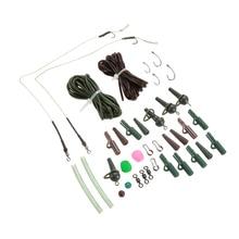 155PCS Fishing Tackle Box Carp Fishing Tackle Kit Box Lead Clips/Beads/Hooks/Tubes/Swivels Baiting Terminal Rigs Pesca