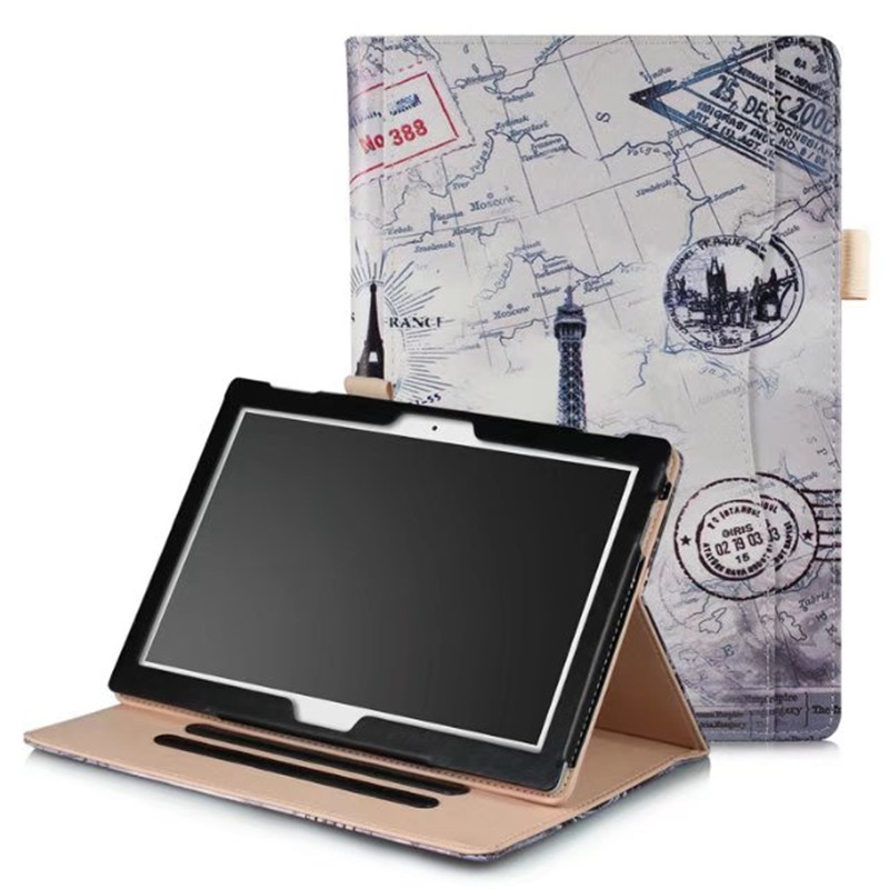 Tablet Wallet cases Tab4 10 plus X704F X704N PU Leather Case Cover Print 10.1 Stand Skin for Lenovo TAB 4 10 TB-X304N TB-X304F ultra thin smart flip pu leather cover for lenovo tab 2 a10 30 70f x30f x30m 10 1 tablet case screen protector stylus pen