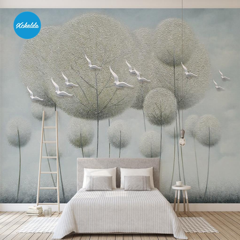 XCHELDA 3D Mural Wallpapers Custom Painting Abstract Forest Tree Background Bedroom Living Room Wall Murals Papel De Parede custom 3d wall murals wallpaper luxury silk diamond home decoration wall art mural painting living room bedroom papel de parede